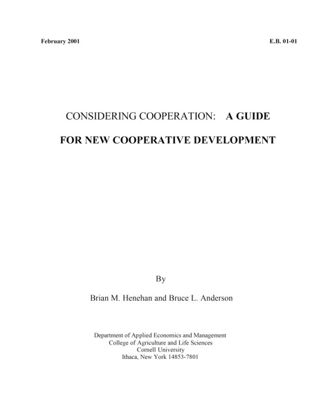 Considering cooperation: a guide for new cooperative development