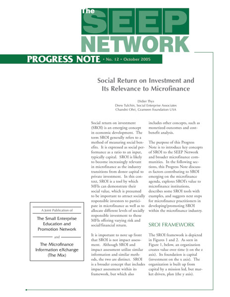 Social Return on Investment and Its Relevance to Microfinance