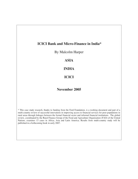 ICICI Bank and Micro-Finance in India