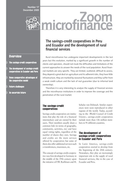 The savings-credit cooperatives in Peru and Ecuador and the development of rural financial services