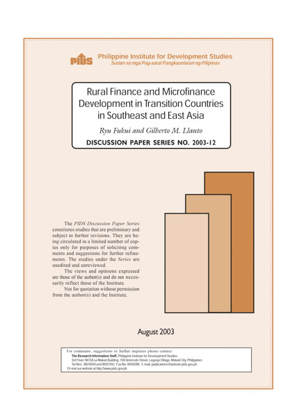 Rural Finance and Microfinance Development in Transition Countries in Southeast and East Asia