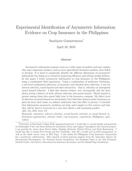 Experimental Identification of Asymmetric Information: Evidence on Crop Insurance in the Philippines