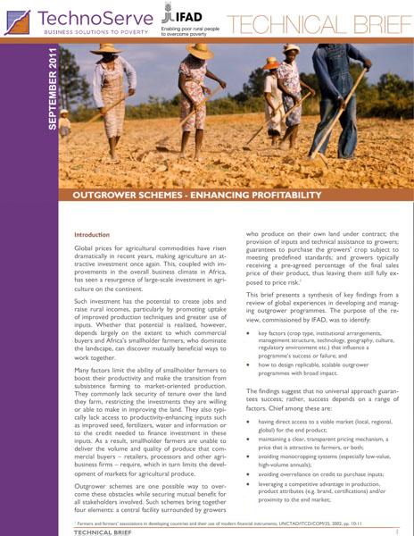 Outgrower Schemes: enhancing profitability