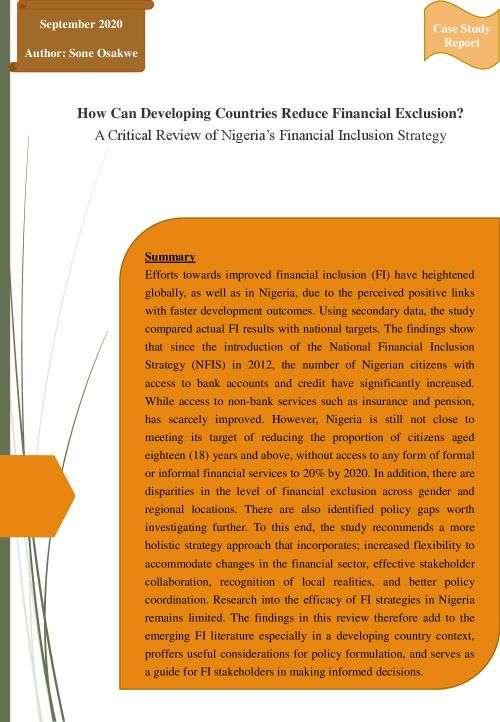 How Can Developing Countries Reduce Financial Exclusion? A Critical Review of Nigeria's Financial Inclusion Strategy