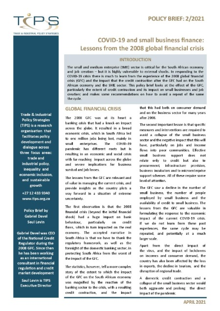 COVID-19 and small business finance: Lessons from the 2008 global financial crisis